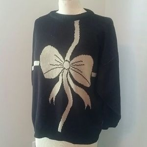 Vintage Black & Tan Bow Sweater